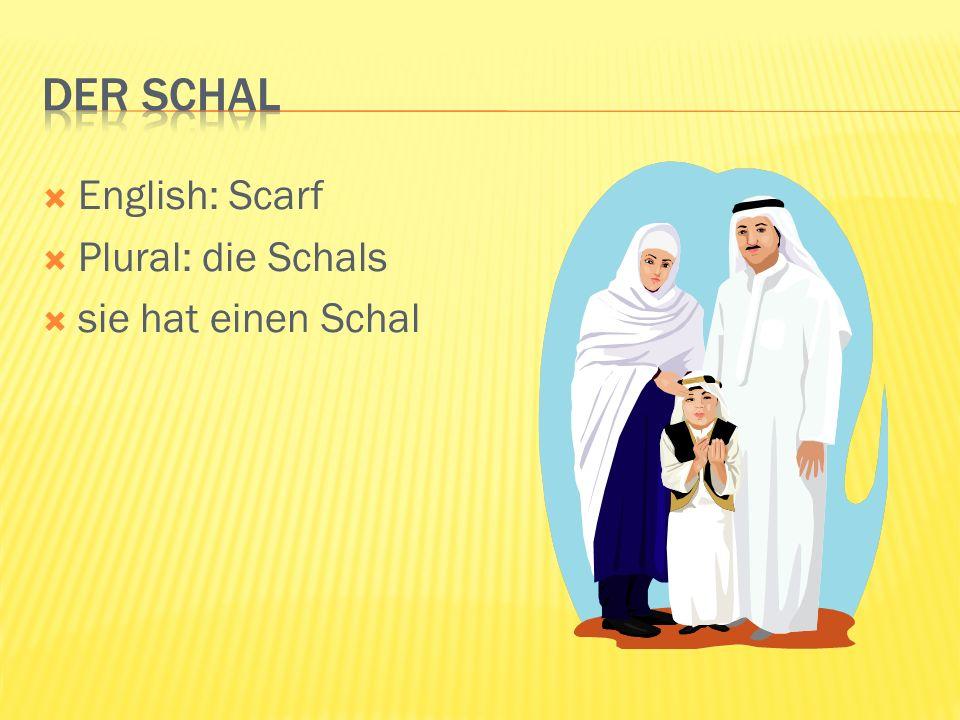 English: Scarf Plural: die Schals sie hat einen Schal