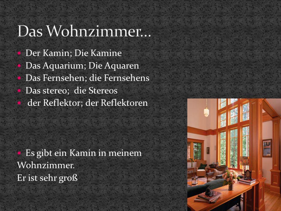Der Kamin; Die Kamine Das Aquarium; Die Aquaren Das Fernsehen; die Fernsehens Das stereo; die Stereos der Reflektor; der Reflektoren Es gibt ein Kamin in meinem Wohnzimmer.