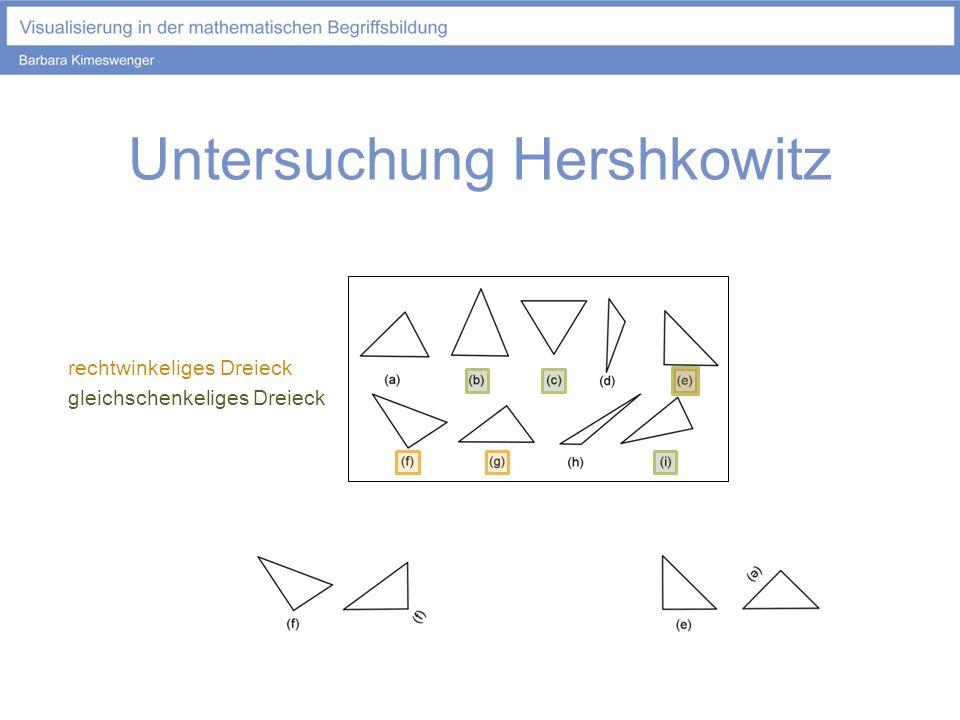 Untersuchung Hershkowitz rechtwinkeliges Dreieck gleichschenkeliges Dreieck