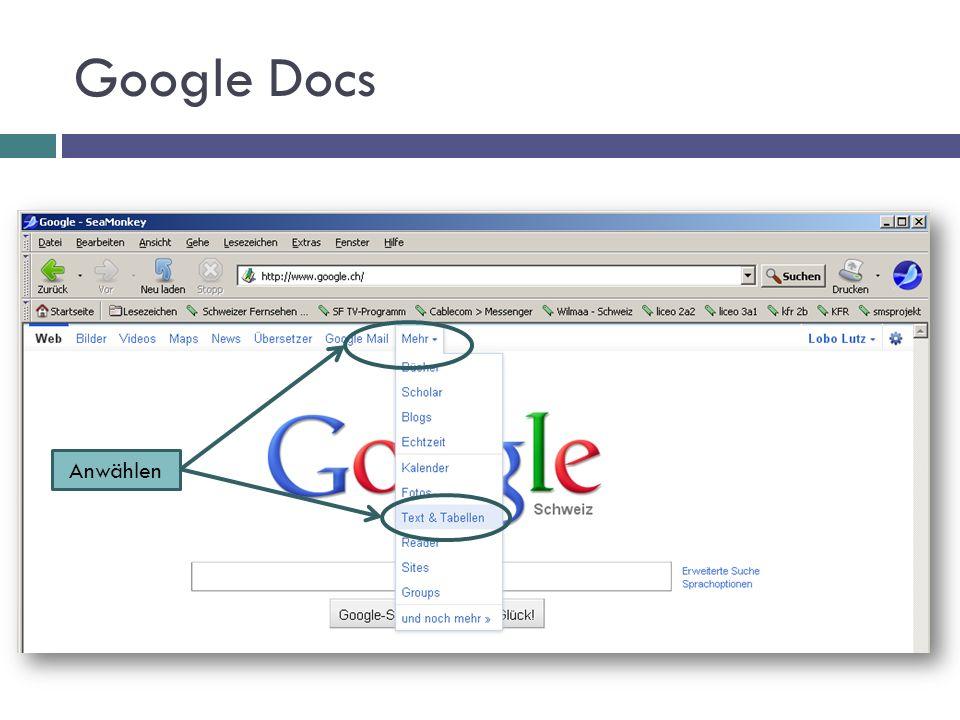 Google Docs Anwählen