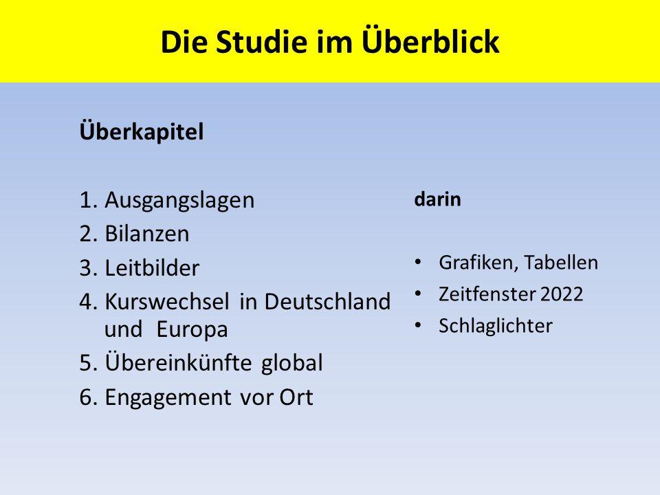 Die Studie im Überblick Überkapitel 1. Ausgangslagen 2. Bilanzen 3. Leitbilder 4. Kurswechsel in Deutschland und Europa 5. Übereinkünfte global 6. Eng