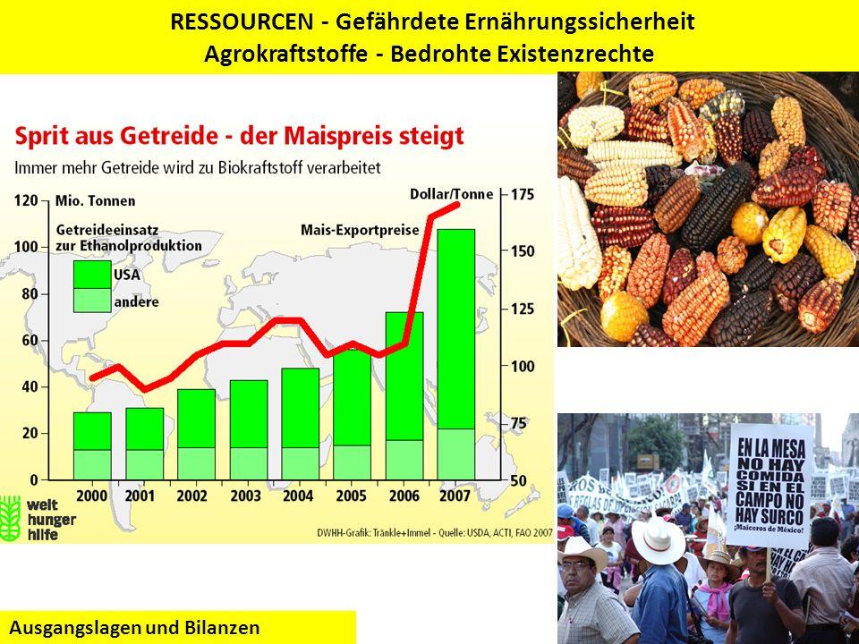 RESSOURCEN - Gefährdete Ernährungssicherheit Agrokraftstoffe - Bedrohte Existenzrechte Ausgangslagen und Bilanzen