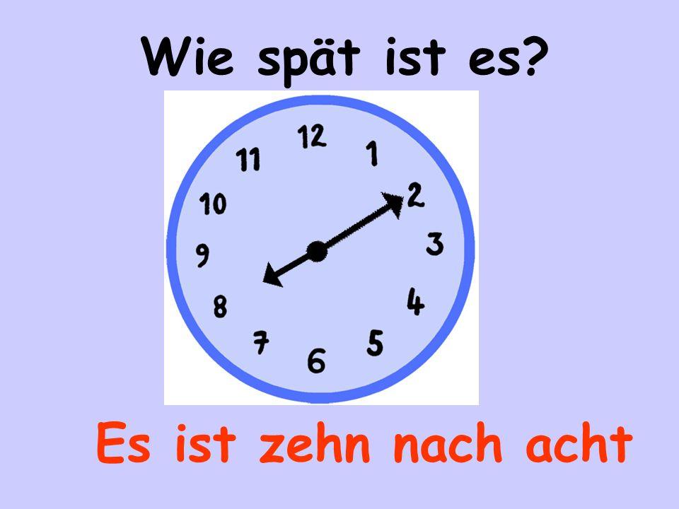 Es ist fünf (Minuten) nach vier Wie spät ist es?