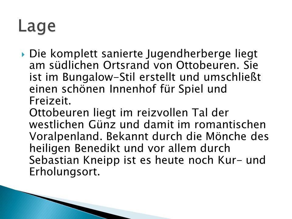 Die komplett sanierte Jugendherberge liegt am südlichen Ortsrand von Ottobeuren. Sie ist im Bungalow-Stil erstellt und umschließt einen schönen Innenh