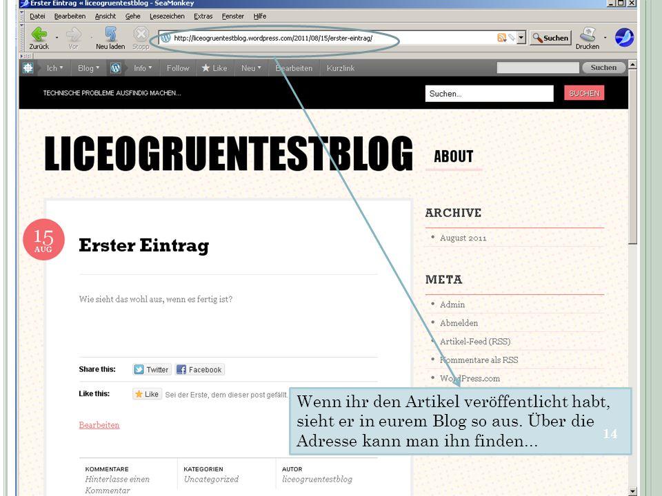 Wenn ihr den Artikel veröffentlicht habt, sieht er in eurem Blog so aus. Über die Adresse kann man ihn finden... 14