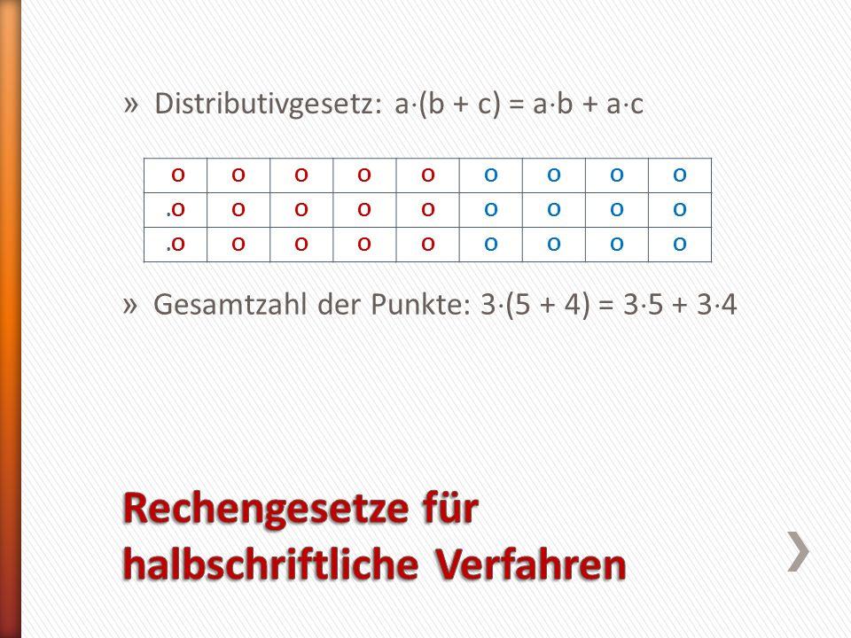 » Distributivgesetz: a (b + c) = a b + a c.O.OOOOOOOOO.O.OOOOOOOOO.O.OOOOOOOOO » Gesamtzahl der Punkte: 3 (5 + 4) = 3 5 + 3 4