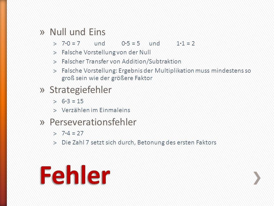 » Null und Eins ˃7 0 = 7 und 0 5 = 5 und 1 1 = 2 ˃Falsche Vorstellung von der Null ˃Falscher Transfer von Addition/Subtraktion ˃Falsche Vorstellung: E