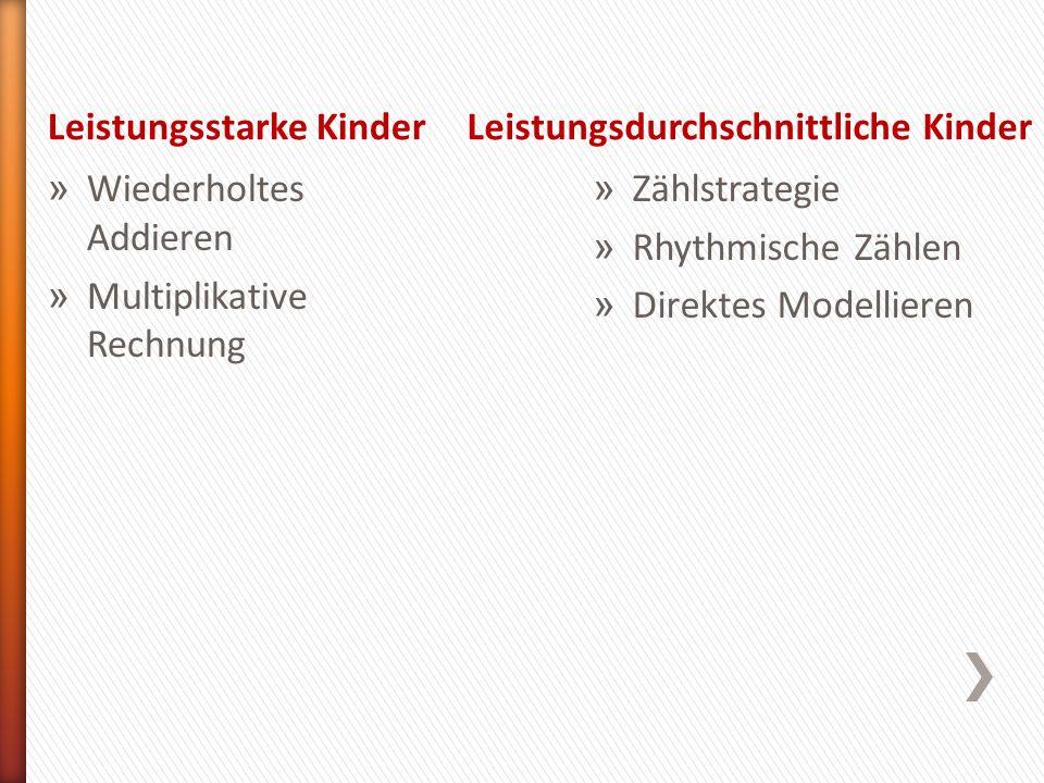 Leistungsstarke KinderLeistungsdurchschnittliche Kinder » Wiederholtes Addieren » Multiplikative Rechnung » Zählstrategie » Rhythmische Zählen » Direk