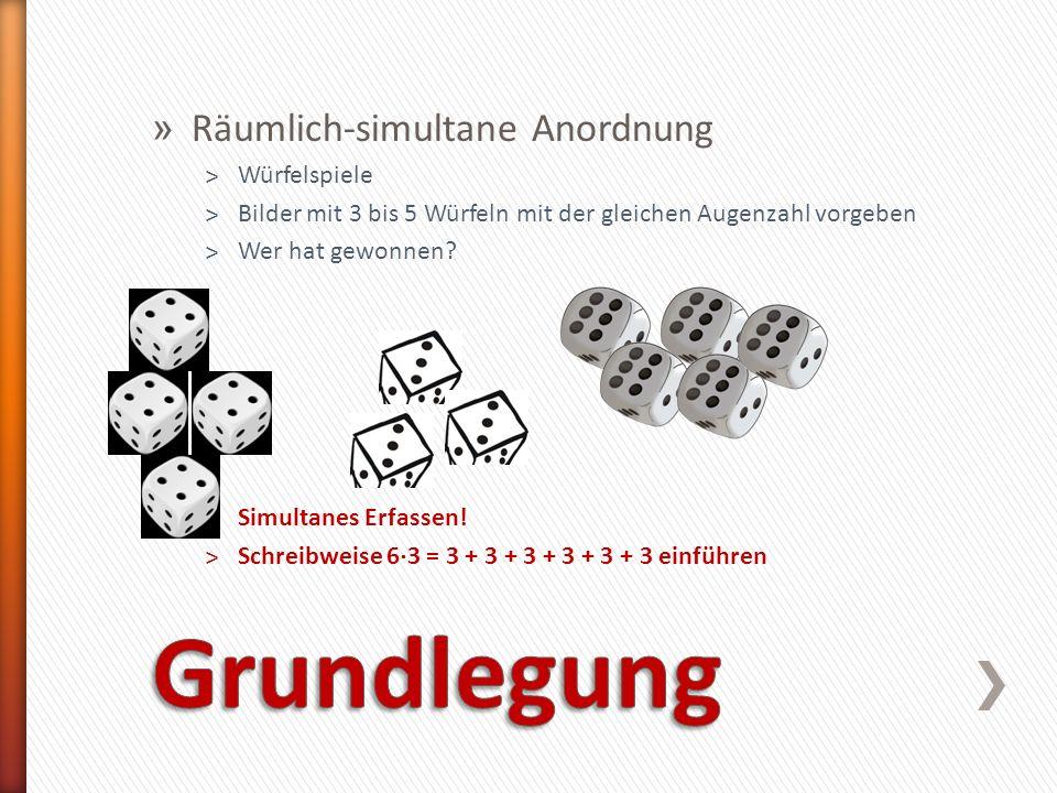 » Räumlich-simultane Anordnung ˃Würfelspiele ˃Bilder mit 3 bis 5 Würfeln mit der gleichen Augenzahl vorgeben ˃Wer hat gewonnen? ˃Simultanes Erfassen!