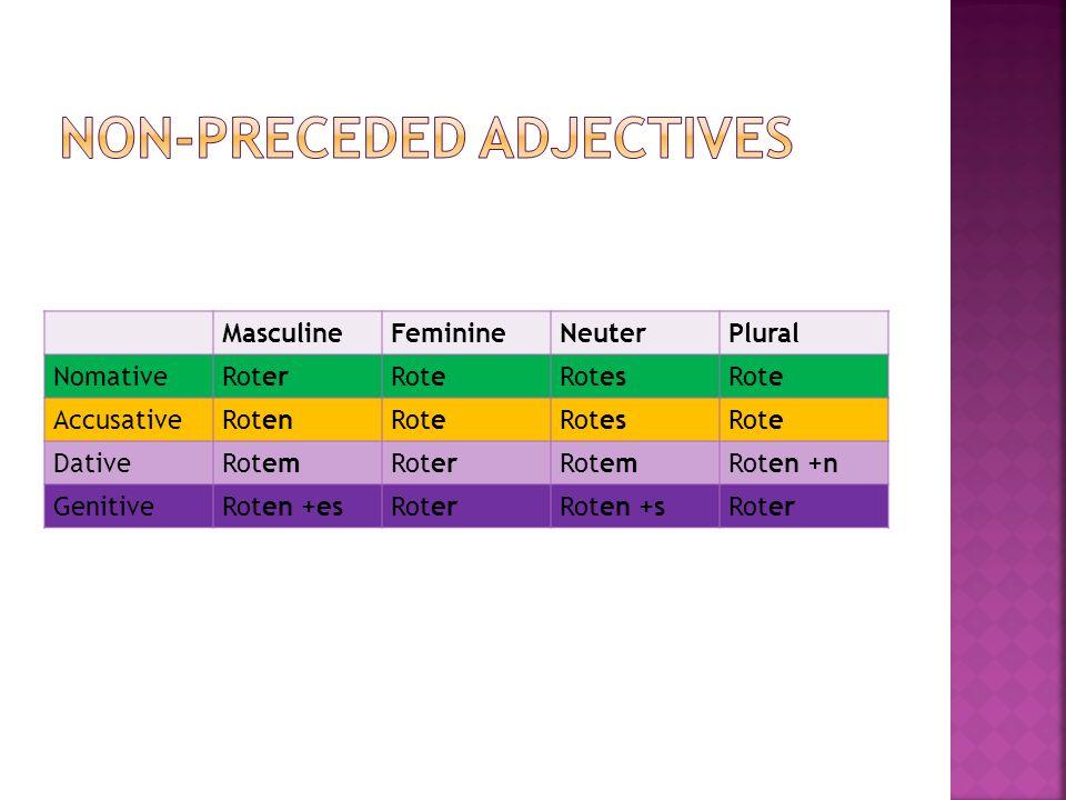 MasculineFeminineNeuterPlural NomativeRoterRoteRotesRote AccusativeRotenRoteRotesRote DativeRotemRoterRotemRoten +n GenitiveRoten +esRoterRoten +sRoter