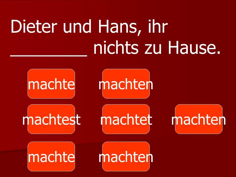 machte machtest machten machtetmachten Dieter und Hans, ihr ________ nichts zu Hause.