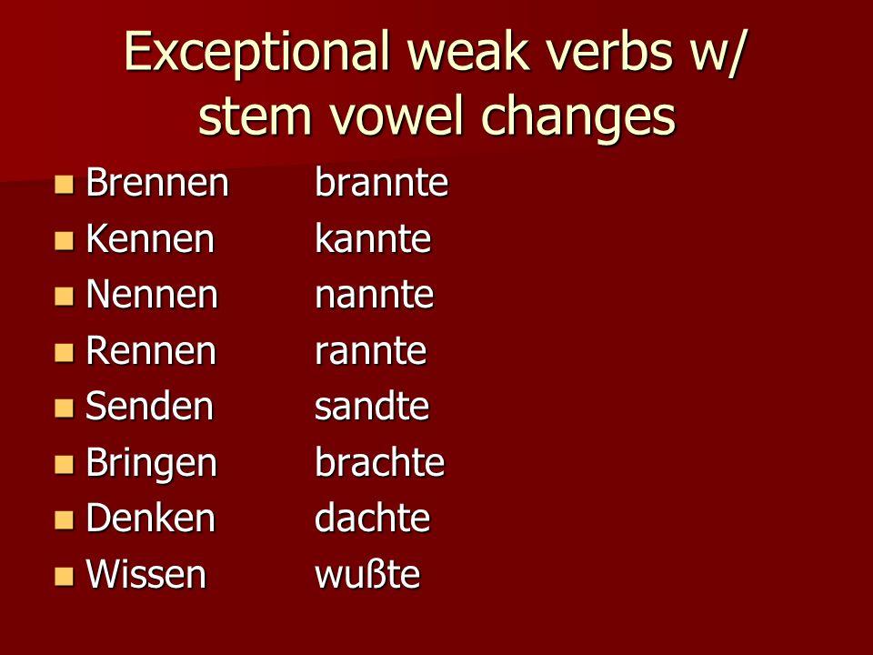 Simple Past Singular weak endings Ich _____te-0 Ich _____te-0 Du ______te-st Du ______te-st Er/sie/es ____te-0 Er/sie/es ____te-0 Notice only 2 forms: Notice only 2 forms: Ich=er/sie/es ___te-0 Ich=er/sie/es ___te-0 Du= ____te-st Du= ____te-st Plural weak endings Wir _____te-n Wir _____te-n Ihr ______te-t Ihr ______te-t Sie/SIE ___te-n Sie/SIE ___te-n Notice only 2 forms: Notice only 2 forms: Wir=sie/SIE ___te-n Wir=sie/SIE ___te-n Ihr= ____te-t Ihr= ____te-t