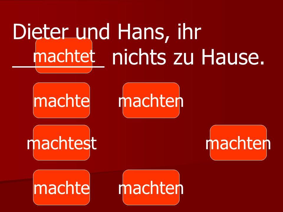 machte machtest machten machtet machten Dieter und Hans, ihr ________ nichts zu Hause.