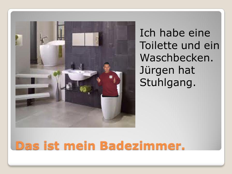 Das ist mein Badezimmer. Ich habe eine Toilette und ein Waschbecken. Jürgen hat Stuhlgang.