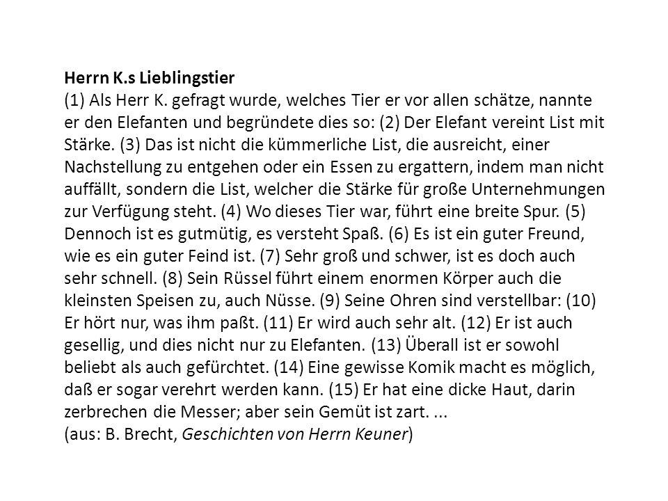 Herrn K.s Lieblingstier (1) Als Herr K.