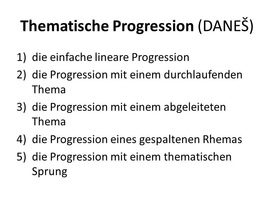 Thematische Progression (DANEŠ) 1)die einfache lineare Progression 2)die Progression mit einem durchlaufenden Thema 3)die Progression mit einem abgeleiteten Thema 4)die Progression eines gespaltenen Rhemas 5)die Progression mit einem thematischen Sprung