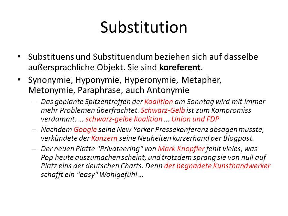 Substitution Substituens und Substituendum beziehen sich auf dasselbe außersprachliche Objekt. Sie sind koreferent. Synonymie, Hyponymie, Hyperonymie,