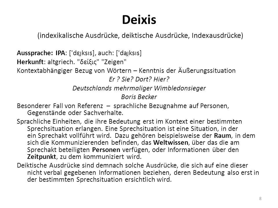 Deixis (indexikalische Ausdrücke, deiktische Ausdrücke, Indexausdrücke) Aussprache: IPA: ['dɛɪ̯ksɪs], auch: ['daɪ̯ksɪs] Herkunft: altgriech.