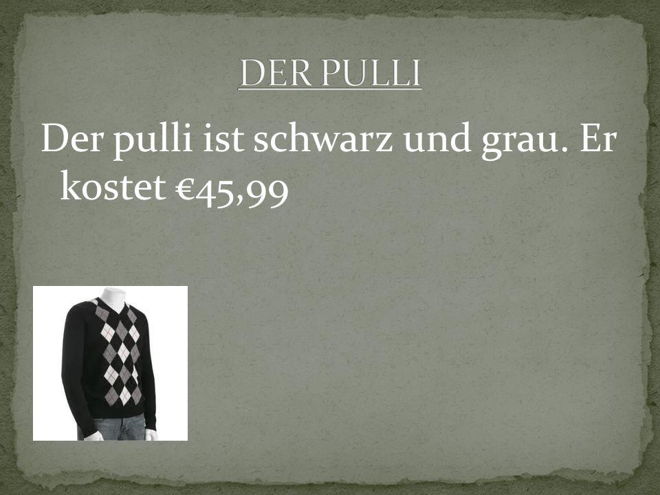 Der pulli ist schwarz und grau. Er kostet 45,99