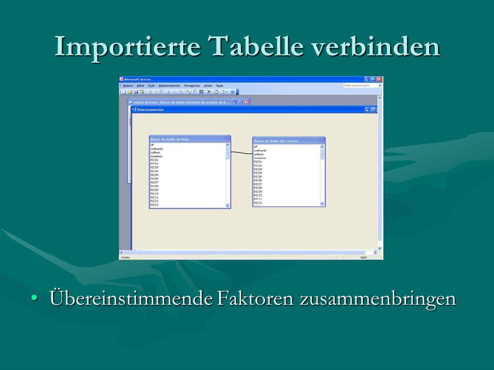 Importierte Tabelle verbinden Übereinstimmende Faktoren zusammenbringenÜbereinstimmende Faktoren zusammenbringen