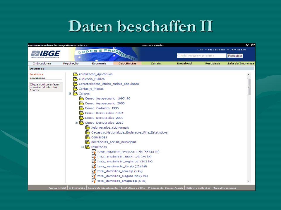 Daten beschaffen II