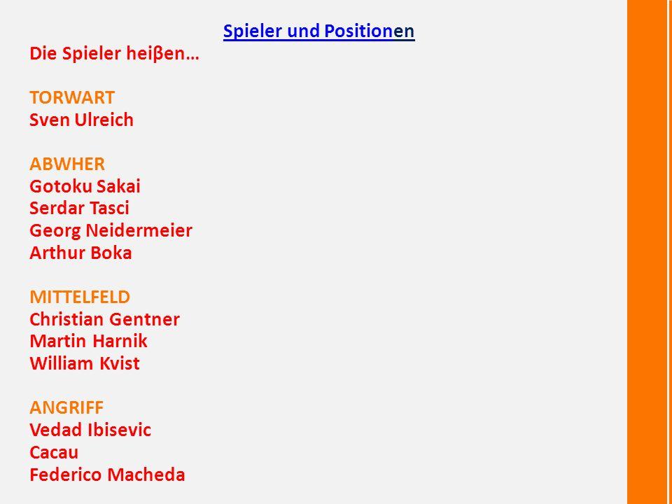 Martin=> Mittelfeld Serdar=> Abwher Sven=> Torwart <=Christian Mittelfeld <=Vedad Angriff Gotoku=> Abwher Die wichtigste Spieler sind…
