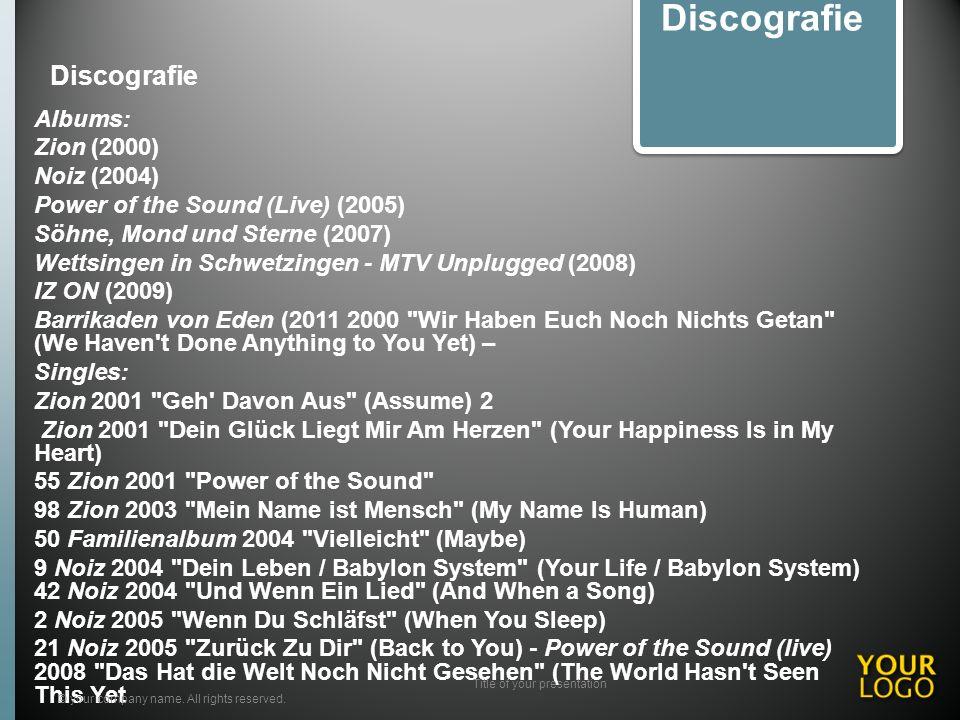 Discografie Albums: Zion (2000) Noiz (2004) Power of the Sound (Live) (2005) Söhne, Mond und Sterne (2007) Wettsingen in Schwetzingen - MTV Unplugged