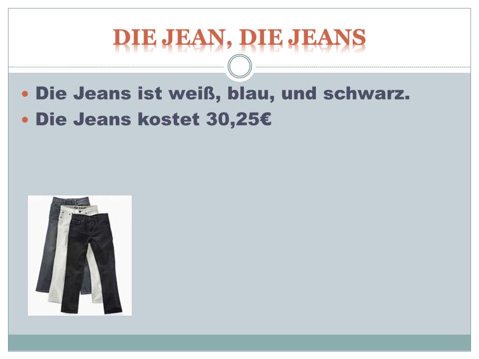 Die Jeans ist weiß, blau, und schwarz. Die Jeans kostet 30,25