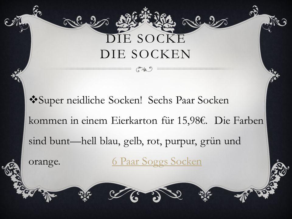 DIE SOCKE DIE SOCKEN Super neidliche Socken! Sechs Paar Socken kommen in einem Eierkarton für 15,98. Die Farben sind bunthell blau, gelb, rot, purpur,