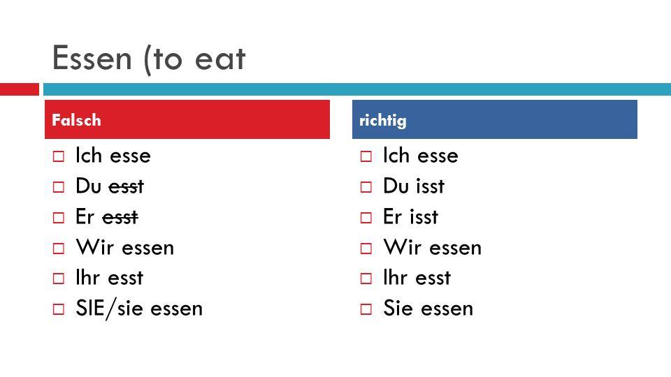 Essen (to eat Ich esse Du esst Er esst Wir essen Ihr esst SIE/sie essen Ich esse Du isst Er isst Wir essen Ihr esst Sie essen Falschrichtig