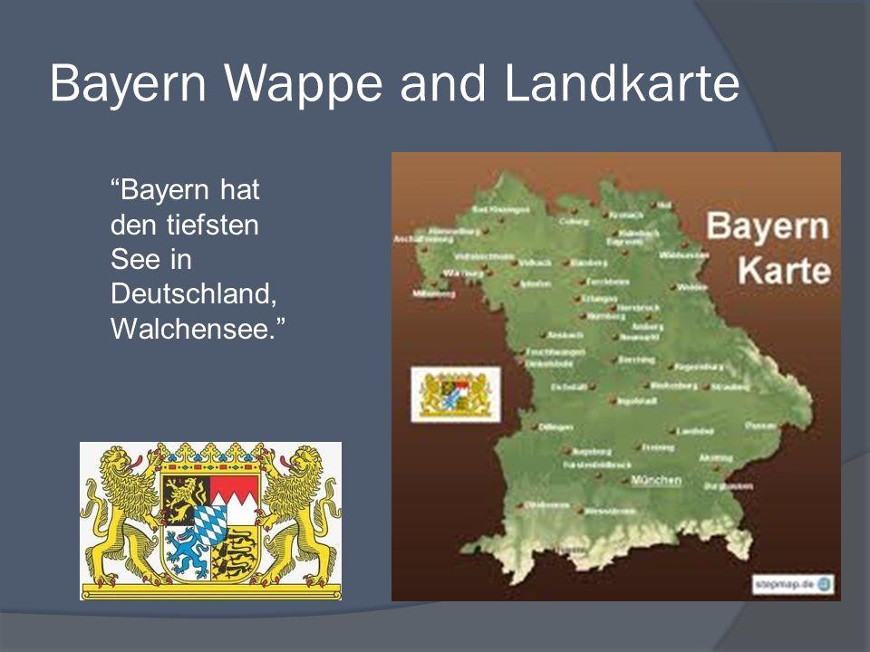 Bayern Wappe and Landkarte Bayern hat den tiefsten See in Deutschland, Walchensee.