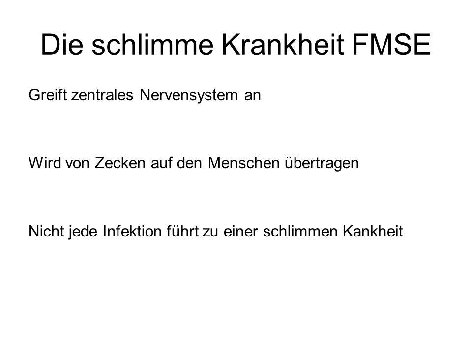 Die schlimme Krankheit FMSE Greift zentrales Nervensystem an Wird von Zecken auf den Menschen übertragen Nicht jede Infektion führt zu einer schlimmen