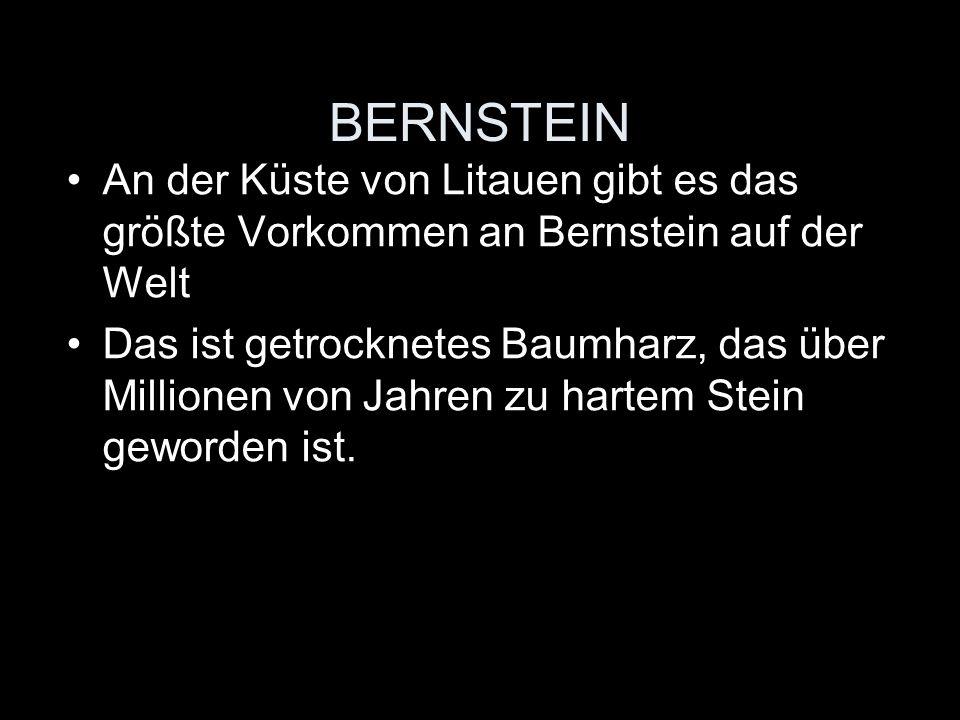BERNSTEIN An der Küste von Litauen gibt es das größte Vorkommen an Bernstein auf der Welt Das ist getrocknetes Baumharz, das über Millionen von Jahren zu hartem Stein geworden ist.
