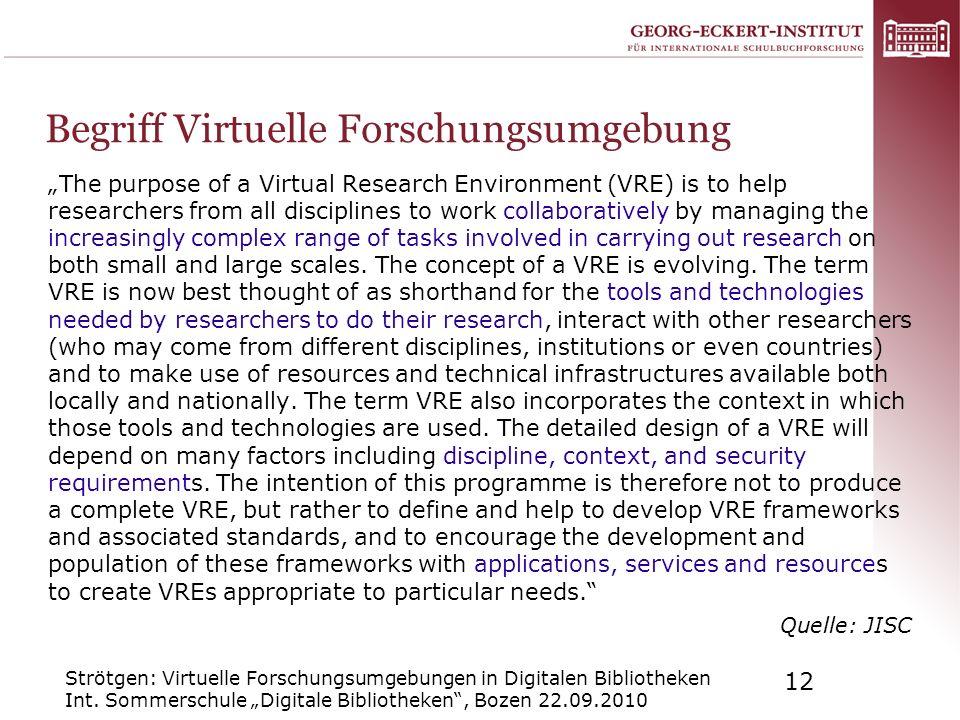 Strötgen: Virtuelle Forschungsumgebungen in Digitalen Bibliotheken Int. Sommerschule Digitale Bibliotheken, Bozen 22.09.2010 12 Begriff Virtuelle Fors