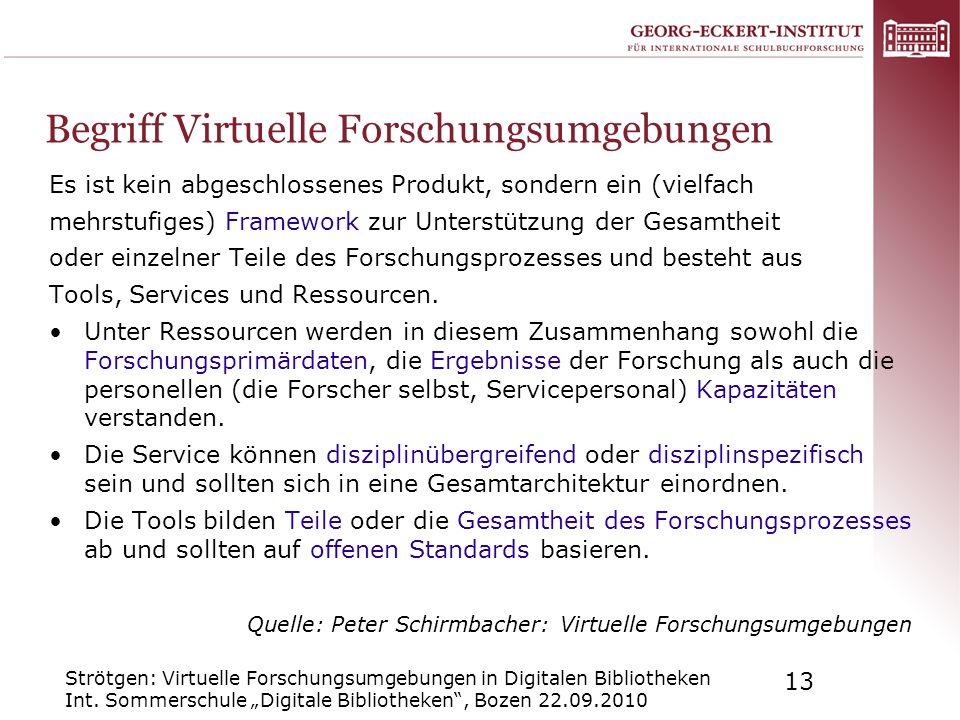 Strötgen: Virtuelle Forschungsumgebungen in Digitalen Bibliotheken Int. Sommerschule Digitale Bibliotheken, Bozen 22.09.2010 13 Begriff Virtuelle Fors