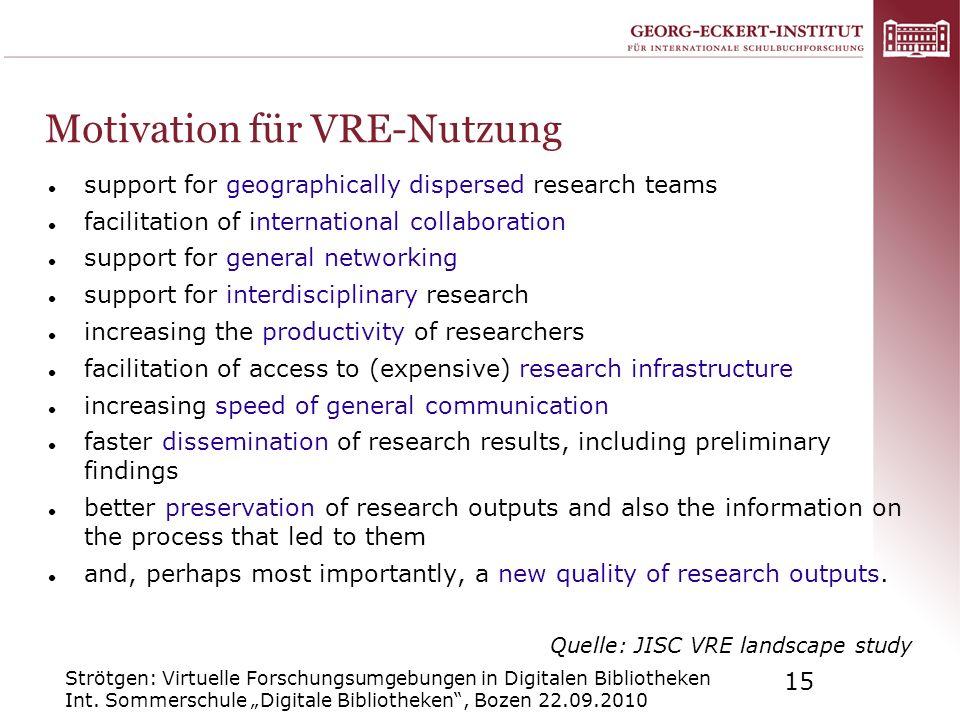 Strötgen: Virtuelle Forschungsumgebungen in Digitalen Bibliotheken Int. Sommerschule Digitale Bibliotheken, Bozen 22.09.2010 15 Motivation für VRE-Nut