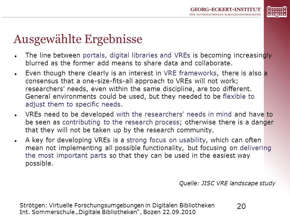 Strötgen: Virtuelle Forschungsumgebungen in Digitalen Bibliotheken Int. Sommerschule Digitale Bibliotheken, Bozen 22.09.2010 20 Ausgewählte Ergebnisse