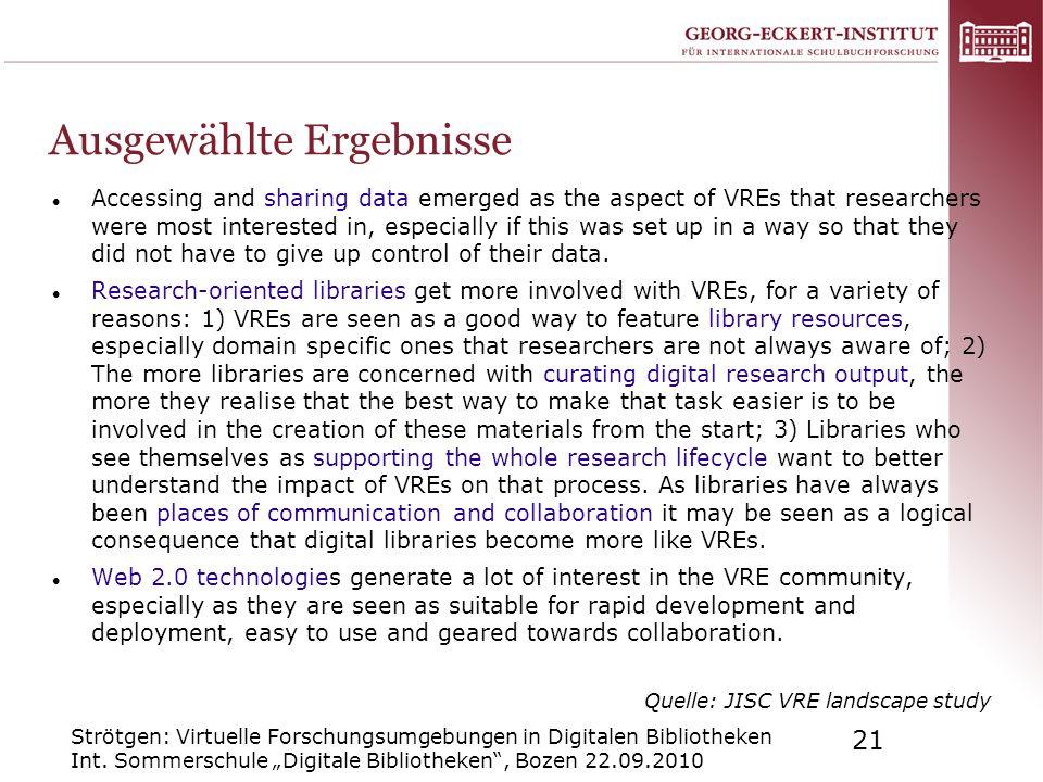 Strötgen: Virtuelle Forschungsumgebungen in Digitalen Bibliotheken Int. Sommerschule Digitale Bibliotheken, Bozen 22.09.2010 21 Ausgewählte Ergebnisse