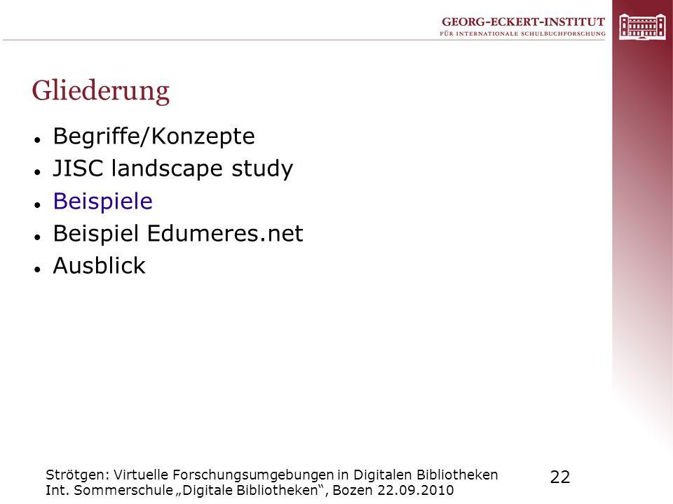 Strötgen: Virtuelle Forschungsumgebungen in Digitalen Bibliotheken Int. Sommerschule Digitale Bibliotheken, Bozen 22.09.2010 22 Gliederung Begriffe/Ko