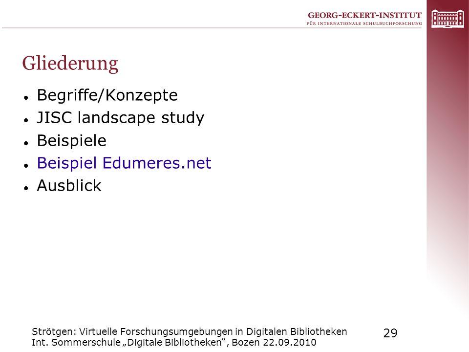 Strötgen: Virtuelle Forschungsumgebungen in Digitalen Bibliotheken Int. Sommerschule Digitale Bibliotheken, Bozen 22.09.2010 29 Gliederung Begriffe/Ko