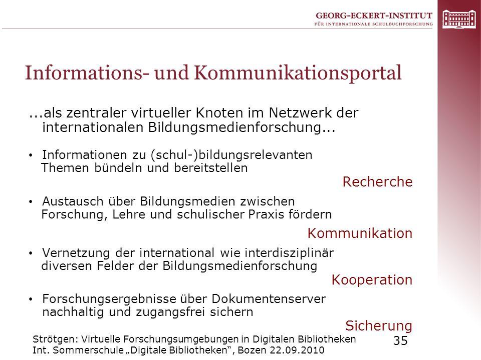 Strötgen: Virtuelle Forschungsumgebungen in Digitalen Bibliotheken Int. Sommerschule Digitale Bibliotheken, Bozen 22.09.2010 35 Informations- und Komm