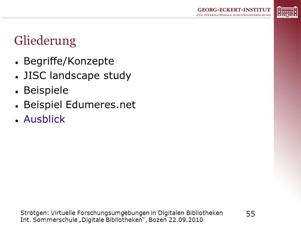 Strötgen: Virtuelle Forschungsumgebungen in Digitalen Bibliotheken Int. Sommerschule Digitale Bibliotheken, Bozen 22.09.2010 55 Gliederung Begriffe/Ko