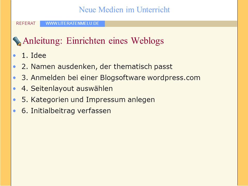 WWW.LITERATENMELU.DE REFERAT Neue Medien im Unterricht Anleitung: Einrichten eines Weblogs 1. Idee 2. Namen ausdenken, der thematisch passt 3. Anmelde