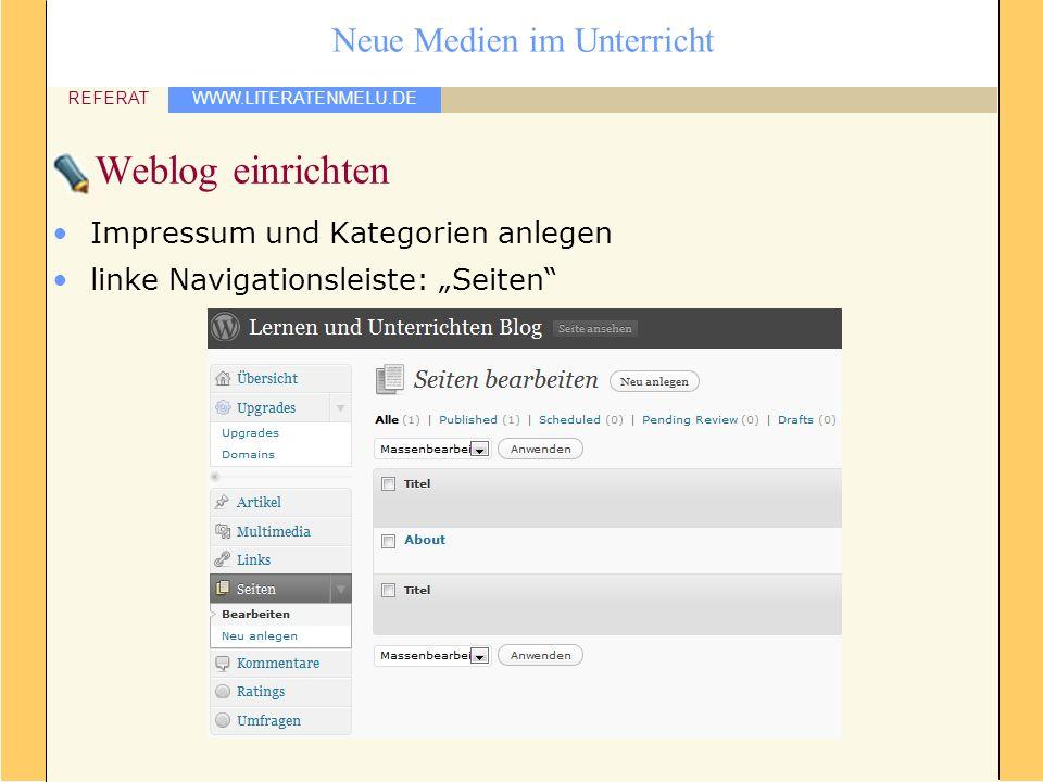 WWW.LITERATENMELU.DE REFERAT Neue Medien im Unterricht Weblog einrichten Impressum und Kategorien anlegen linke Navigationsleiste: Seiten