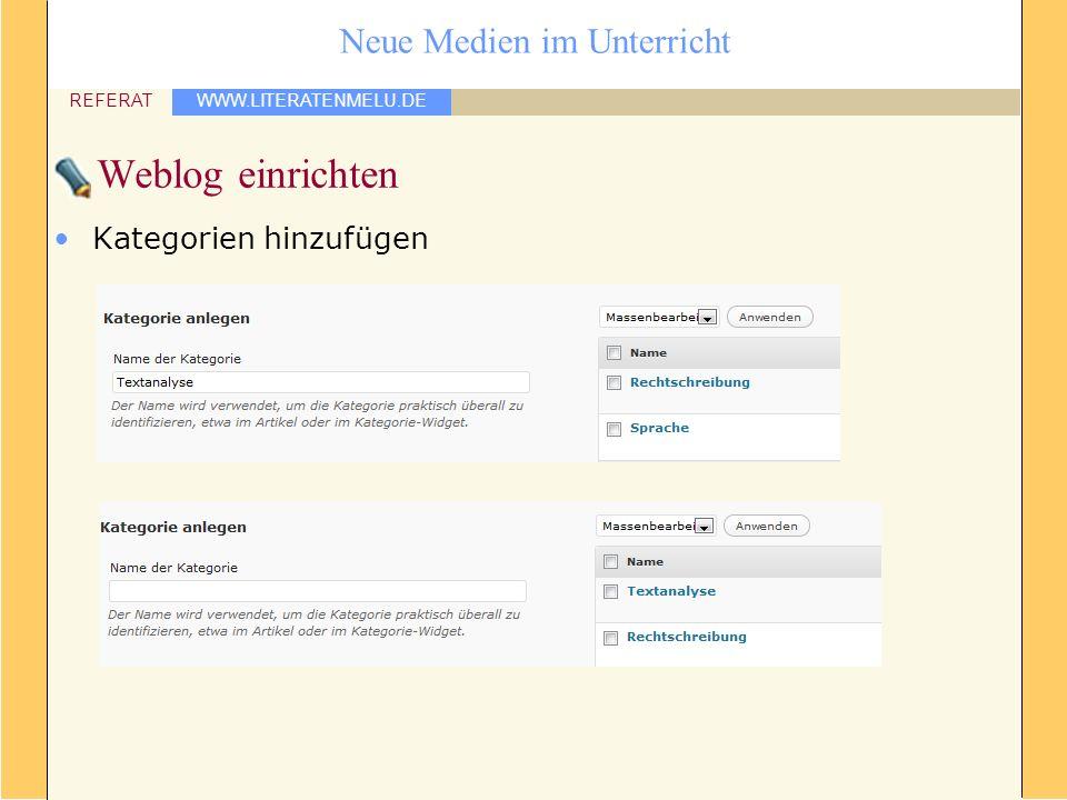 WWW.LITERATENMELU.DE REFERAT Neue Medien im Unterricht Weblog einrichten Kategorien hinzufügen