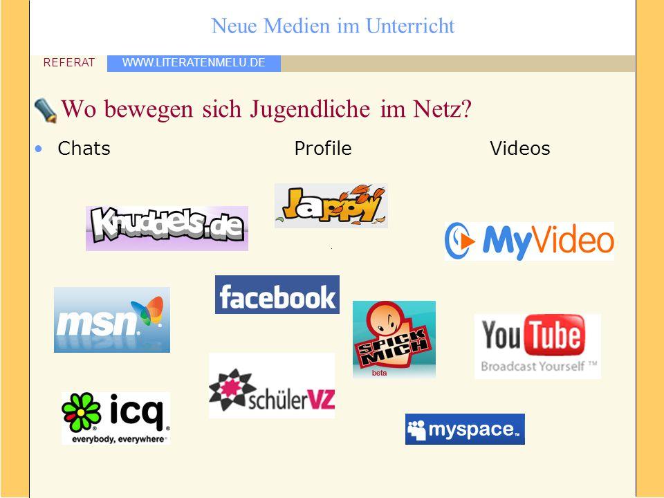 WWW.LITERATENMELU.DE REFERAT Neue Medien im Unterricht Wo bewegen sich Jugendliche im Netz? ChatsProfileVideos