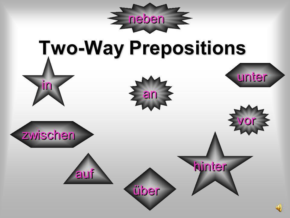 Two-Way Prepositions in an zwischen vor auf über hinter neben unter