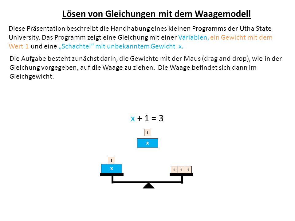Lösen von Gleichungen mit dem Waagemodell Diese Präsentation beschreibt die Handhabung eines kleinen Programms der Utha State University. Das Programm