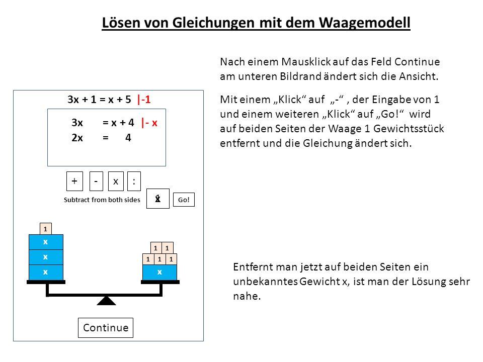 3x + 1 = x + 5 Nach einem Mausklick auf das Feld Continue am unteren Bildrand ändert sich die Ansicht. x x x x 1 111 11 Continue +-x: Subtract from bo