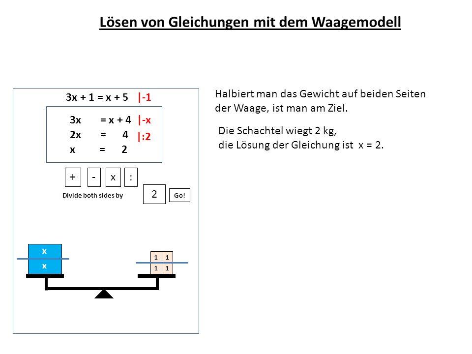 3x + 1 = x + 5 Halbiert man das Gewicht auf beiden Seiten der Waage, ist man am Ziel. x x 11 11 +-x: Divide both sides by Go! 2 3x = x + 4 2x = 4 x =